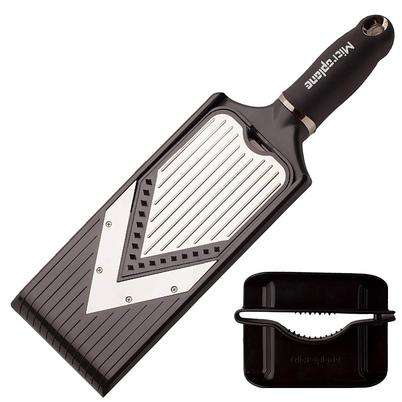 Microplane Adjustable V-Blade Slicer with Julienne Blade & Hand Guard