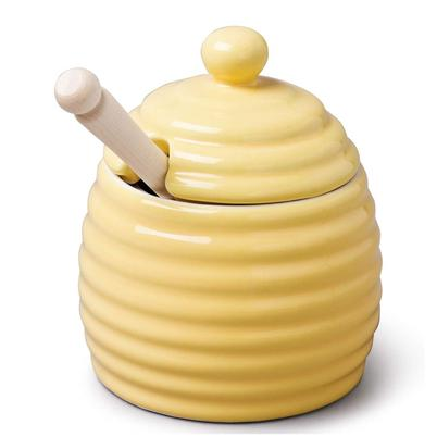 W M Bartleet & Sons Yellow Honey Pot with Dipper