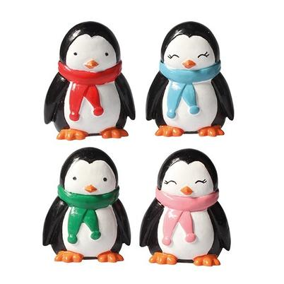 Cake Topper Plastic Penguin Scarf & Friends 40mm