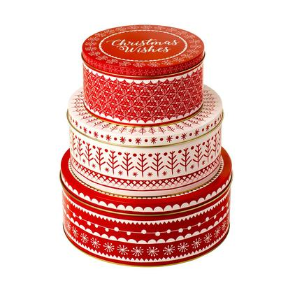 Eddingtons Christmas Cake Tin Set of 3